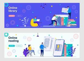 página de destino da biblioteca online com personagens de pessoas vetor