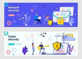 página de destino da segurança cibernética com personagens de pessoas