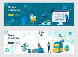 página inicial de educação online com personagens de pessoas vetor