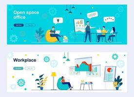 página inicial do escritório em espaço aberto com personagens de pessoas vetor