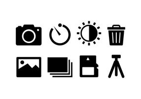 Configuração da câmera e ícones de acessórios vetor