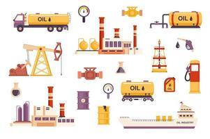 pacote de cenas planas da indústria do petróleo vetor