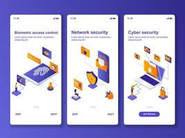 kit de design isométrico de segurança cibernética