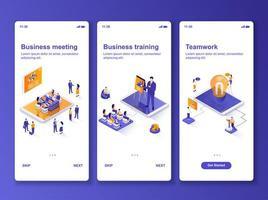 kit de design gui isométrico reunião de negócios vetor
