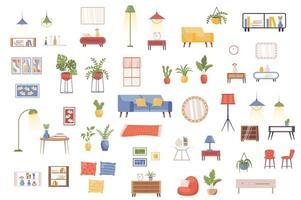 pacote de decoração de interiores com cenas planas vetor