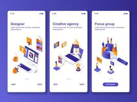 kit de design isométrico para agência criativa vetor