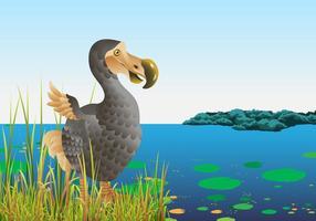Pássaro de dodo na natureza vetor