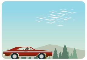 Homem dirigindo vermelho dodge carregador 1970 vetor