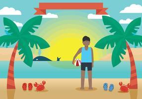 Playa vector ilustração da praia