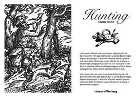 Cartaz gravado do vetor do vintage da caça