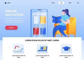 página inicial plana de educação online