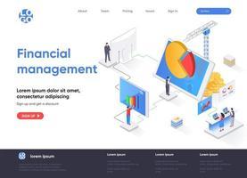 página de destino isométrica de gestão financeira