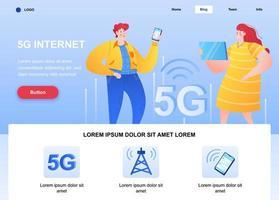 Página de destino plana da internet 5g