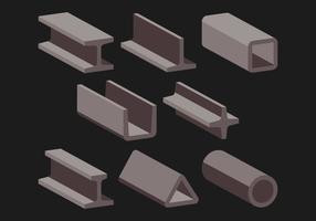 Conjunto de ícones de viga de aço vetor