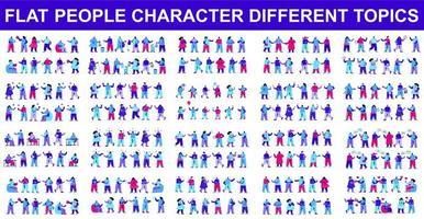 pacote de personagens planos fazendo coisas diferentes