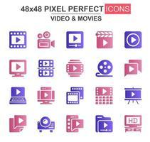 conjunto de ícones de glifo de vídeo e filmes vetor