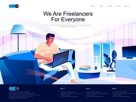 somos freelancers para todos página de destino vetor