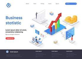 página de destino isométrica de estatística de negócios