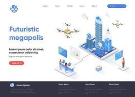 design isométrico de página de destino em megapolis futurista