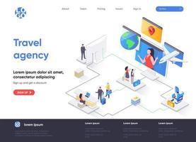 página de destino isométrica da agência de viagens vetor