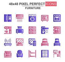 conjunto de ícones de glifo de móveis domésticos