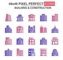 conjunto de ícones de glifo de construção e construção vetor