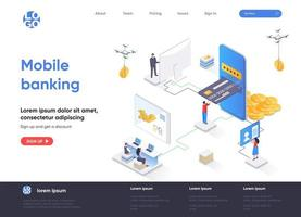 página de destino isométrica do mobile banking