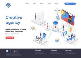 página de destino isométrica da agência de criação