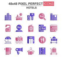 conjunto de ícones de glifo de hotéis