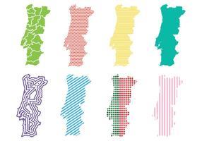 Ícones do vetor do mapa de Portugal