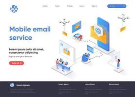 página de destino isométrica do serviço de e-mail móvel