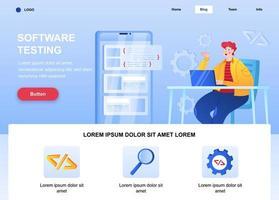 página de destino plana de teste de software