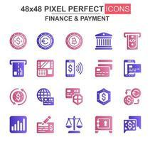conjunto de ícones de glifo de finanças e pagamento vetor