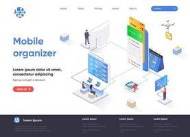 página de destino isométrica do organizador móvel vetor