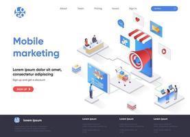 página de destino isométrica da agência de marketing móvel vetor