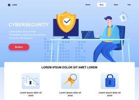 página de destino plana de segurança cibernética