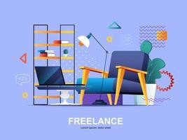 conceito flat freelance com gradientes