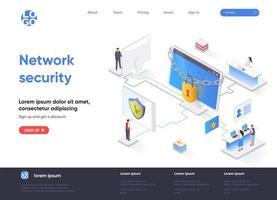 página de destino isométrica de segurança de rede