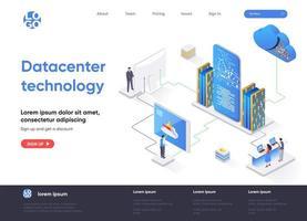 página de destino isométrica da tecnologia do data center vetor