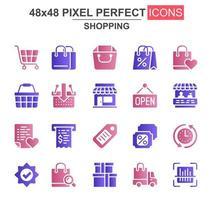 conjunto de ícones de glifo de compras