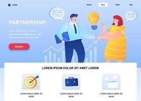 página de destino plana da parceria vetor