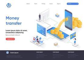 página de destino isométrica de transferência de dinheiro