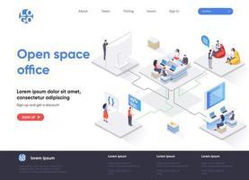 página de destino isométrica de escritório em espaço aberto vetor