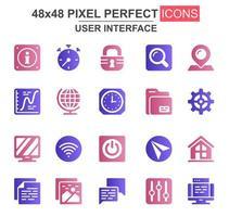 conjunto de ícones de glifo da interface do usuário vetor