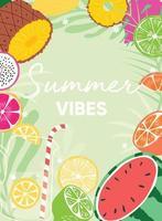 slogan tipográfico vibes de verão e pôster de frutas frescas