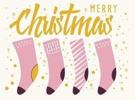 texto feliz natal lettering cartão design com meias vetor