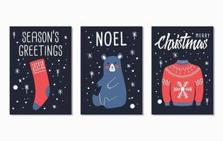 cartões de letras de feliz natal e feliz ano novo vetor