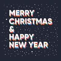 letras de texto feliz natal e feliz ano novo vetor