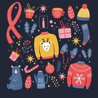 coleção de elementos de ano novo e Natal. vetor