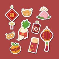 conjunto de adesivo de ano novo chinês vetor